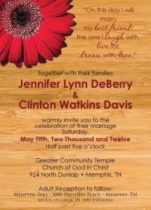 Wedding Invitation_wood&red daisy
